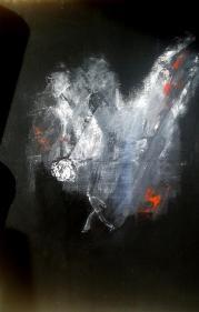 Attenta -  acrylique  sur toile lin - 54*65 - 500 €