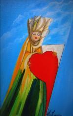 La Dame de coeur - Huile/ toile (14*22)