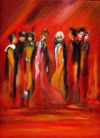 Groupe rouge - Huile sur toile (24*30)