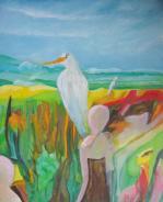 L oiseau blanc- Huile/toile encadré - 22 X 27