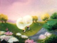 La course de vélos à bulle - huile  sur toile(2 ème)