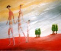 la famille en route - Huile sur toile 45*55