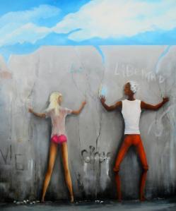 """""""Le mur""""  Huile sur toile lin (100*120)"""