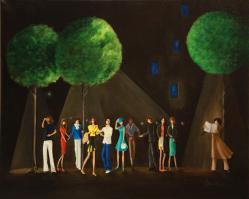 Scene de vie, la nuit - Huile/toile (50*62)