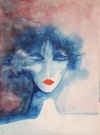 Portrait aquarelle bleu