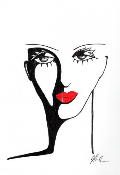 Portrait  lèvres rouges (encre et feutre) vendu